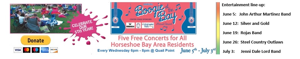 Boogie at the Bay starts June 5th  FIVE FREE CONCERTS each Wednesday